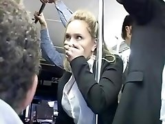 Horny blond groped to multiple ejaculation on bus & plowed