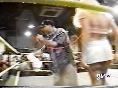 Jasmin St. Claire taking on Georgeous george in a hooter-sling and undies match wwe