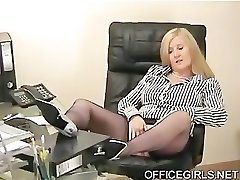 Chubby Assistant Teases In the Office In Blue Silk Stockings