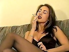 Retro smoking dark haired
