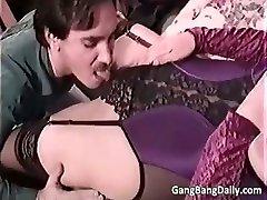 Pregnant mom sucks many hard peckers part5