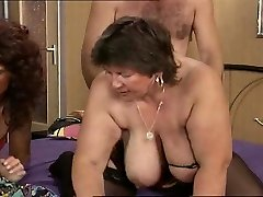 Grandmother with big saggy breasts gets it