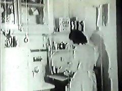 Handyman bangs mischievous housewife in vintage porn