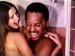 Vintage Interracial Pár Sprcha Sex