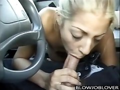 Melody Love gives blowjob in car