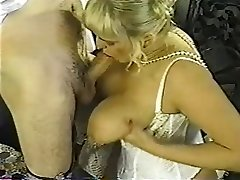 Vintage chubby blondie with huge knockers