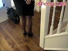 Μεγάλο Στήθος Ώριμος Γραμματέας Σε Κάλτσες