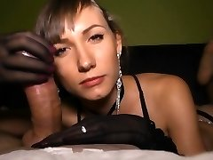 Sensual hand job with nylon gloves!
