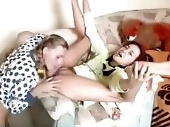 Uber-cute russian lesbian college chick having fun on the couch