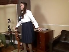 Schoolgirl Cherry Blush plays in antique panties