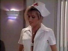 Vintage nurse scene. Cums on her soles