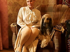 The gal with the dog