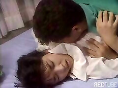Cute Japanese girl is getting nailed by tongue and rock-hard man rod