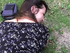 Huge tits amateur bbw fucking outdoor pov