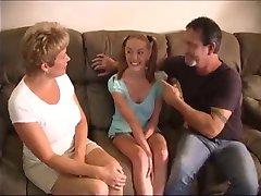 Couple fucks the babysitter lustily