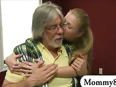 Stepmom and teen horny threesome action