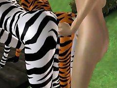 3D شخص furries گرفتن کون در پارک
