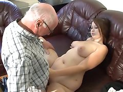 German grandpa makes young girl horny
