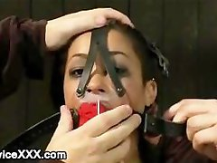 Two babes gagged and machine fucked in dungeon
