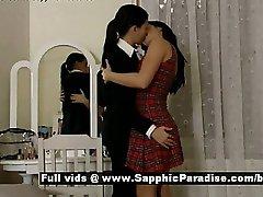 Ella and Daphne tender brunette lesbos kissing