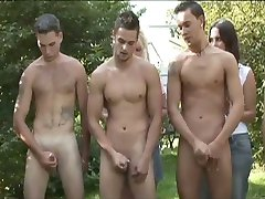 CFNM 5 Guy Circle Jerk for Ladies in Forest