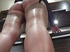 Nylon brilhante pés