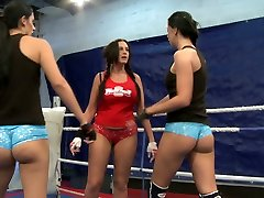 Emma Culo, Diana Stewart and Larissa Dee wrestle against each other