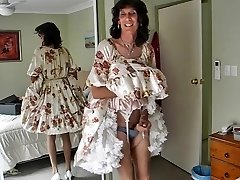 Crossdresser michelle frolicking in floral frock