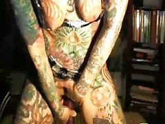Worlds Most Tattooed Teen Does Double Dildo