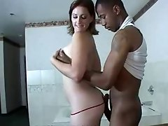 Bootylicious white chick enjoys 'n services black stud!