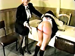 Female teacher spanks school girl otk