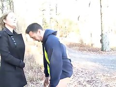 Blowjob in the woods with a voyeur