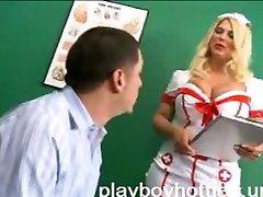 White Stockings Nurse with Big Tits Fucking Hardcore