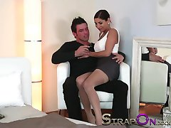 StrapOn Beautiful Women fucking a guy in the ass with Strap On cock