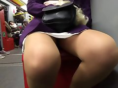 Upskirt in metro and escalator