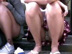 girl sitting in the street - upskirt!!