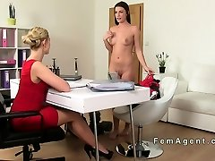 Seduced brunette beauty in lesbian casting