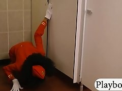 Ebony stewardess railed in public toilet
