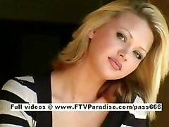 Svetlana cute blonde doll gulps cofee