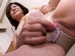 stroking asian gran part1