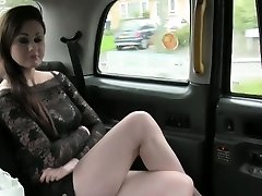 Beautiful British girl deep faceholes in fake taxi