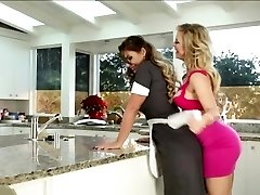 Lesbians licking honeypot in the kitchen