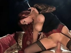 Hot Ginger-haired In High-heeled Slippers Smoking and Riding