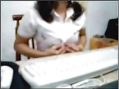 indian mom in office webcam