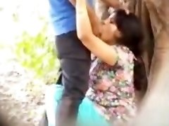 Desi paar gevangen buiten meisje het geven van blowjob