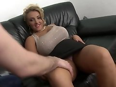 blonde cougar with big natural knockers shaved pussy fuck