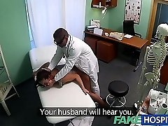 FakeHospital Dirty milf sex maniac gets fucked by the doc while her husband waits