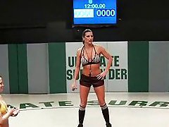 Horny babes in tag team wrestling
