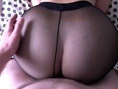 Nymph with good-sized ass fucking in pantyhose.