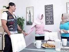 BANGBROS - Mia Khalifa Brings Milky Devil Boyfriend Home For Dinner